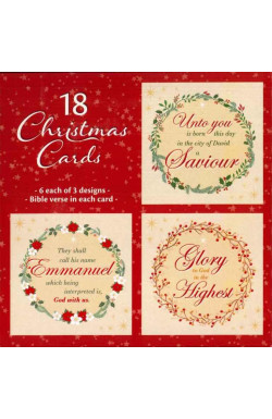 Christmas Wreaths - Pack of 18 Christmas Cards