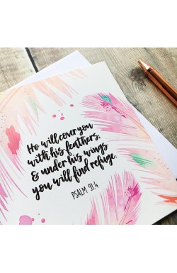 He Will Cover You - Scripture Greeting Card