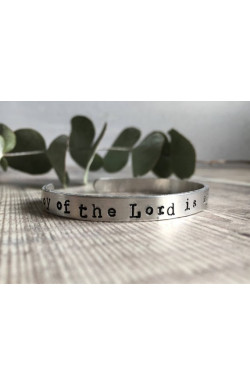 Scripture Cuff Bracelet - The joy of the Lord is my strength